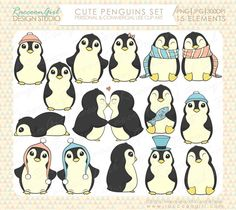 Cute Penguins Clip Art Personal Set ($5) | RaccoonGirlDesign, on Etsy.