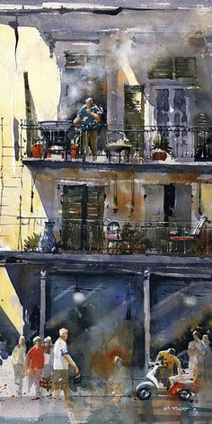 "Thursday Afternoon Decatur Street- New Orleans    by Iain Stewart   Watercolor 20"" x 10"""