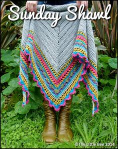 Crochet Shawl Pattern ~ Instant Download ~ Sunday Shawl by TheLittleBeeNZ on Etsy https://www.etsy.com/listing/196313873/crochet-shawl-pattern-instant-download