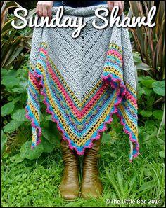Crochet Shawl Pattern ~ Instant Download ~ Sunday Shawl by TheLittleBeeNZ on Etsy https://www.etsy.com/au/listing/196313873/crochet-shawl-pattern-instant-download