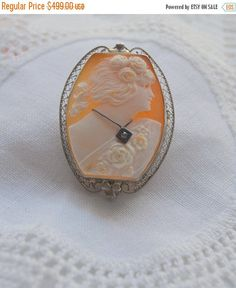 Labor Day Sale Cameo Pin Brooch Pendant Hand Carved Shell Cameo 14k White Gold with Diamond from 12thirtyfive on Etsy.
