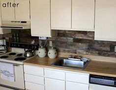 What's so cool about this is that the back splash looks like stone but it's actually reclaimed wood.  I wish there was a splash of color somewhere, but otherwise, love this.