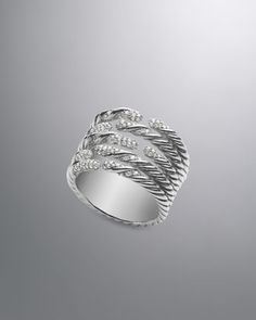 Willow Five-Row Ring with Diamonds by David Yurman at Neiman Marcus.