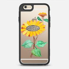 Hand painted watercolor sunflower - New Standard Case in Black and Clear by Pink Water | @casetify