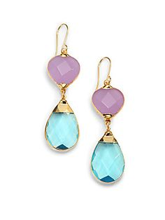Janna Conner Aurélie Quartz Teardrop Earrings/Blue