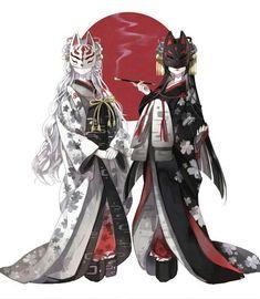 samurai/artwork Japanese Kitsune Masks Building Your Dream Home - Part 1 For most of my adult life I Anime Kimono, Kimono Animé, Fantasy Characters, Female Characters, Anime Characters, Anime Art Girl, Manga Art, Anime Girls, Kitsune Maske