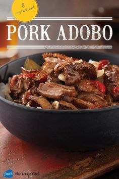 This slow-cooked pork recipe gets its adobo flavor from coconut vinegar, soy sauce and garlic. With less than 10 ingredients, it's easy to make – great for a weeknight dinner. Pork Recipes, Asian Recipes, Mexican Food Recipes, Crockpot Recipes, Cooking Recipes, Healthy Recipes, Recipies, Pork Meals, Cooking Tips