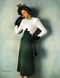 ~Columbia Hand Knit Fashions 1948, photo by Conant-Bradley. A wonderful mid-century example of colour blocking~