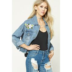 Forever21 Floral Patch Denim Jacket ($33) ❤ liked on Polyvore featuring outerwear, jackets, light blue, light blue denim jacket, patched denim jacket, blue jean jacket, blue jackets and jean jacket