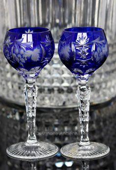 Cobalt Blue Cut Crystal Liquor Glasses, Cordial Glasses, Grapes Decor, Set of 2 // German Crystalware // Mid Century Barware, Bar Cart