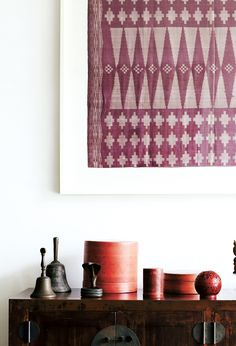 Art & Accessories - LOVE it. I have some of these red lacquerware boxes -- need to set them against a light background so we can see them better.