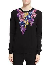 Oscar De La Renta Floral-embroidered Crewneck Sweater In Black Pullover, Crewneck Sweater, Black Sweaters, Floral, What To Wear, Ready To Wear, Luxury Fashion, Crew Neck, Graphic Sweatshirt