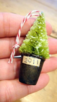 Sweet tree ornament made from a thimble.