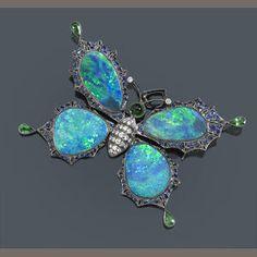 An opal, diamond, sapphire and tsavorite butterfly brooch-pendant