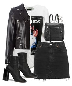 A fashion look from November 2016 featuring white tee, real leather jackets and high waisted denim skirt. Browse and shop related looks. Cute Teen Outfits, Edgy Outfits, Outfits For Teens, Fashion Outfits, Womens Fashion, Cute Fashion, Look Fashion, Outfit Goals, Polyvore Outfits
