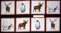 Collection: Holly Jolly Christmas. Each fabric panel has blocks of moose, penguins, polar bears and deer. This fabric is sold by the panel. Theme: Novelty Fabric, Fabric Panel. Novelty Fabric Panel. | eBay!