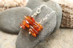 Amber earrings, dangle earrings, Baltic amber by Thistledown Wishes on Etsy and Folksy