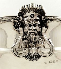 Medallion detail from English sterling silver monteith bowl - made by Adie Bros and retailed by Harrods, London, c1925 (wge6)