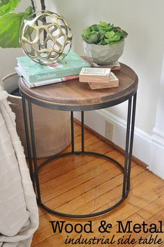 Wood and Metal Industrial Side Table -