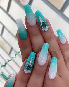 Teal Pastel Tips & Backwards Frenchtips Blinged Out Nails Blue Acrylic Nails, Summer Acrylic Nails, Summer Nails, Purple Nail Polish, Gel Polish, Gorgeous Nails, Pretty Nails, Nails Design With Rhinestones, Fire Nails