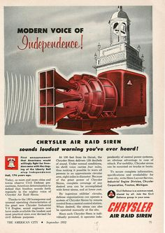 1952 chrysler civil defense air raid siren ad