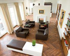 Modern Living Room   Herringbone Pattern   Mosaic Tile   Wood Flooring