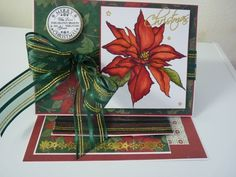 Easel Type Card.   Using Stampendous Cling Stamp JUMBO POINSETTIA