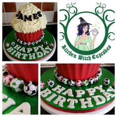 A simple football themed Giant Cupcake Witch Cake, Giant Cupcakes, Cake Business, Kitchen Witch, Cake Decorating, Birthday Cake, Football, Simple, Desserts