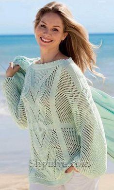 Ажурный пуловер нежно-зеленого цвета