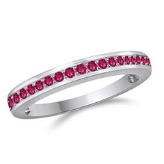 1/3 Ct Round Pink Sapphire 10K White Solid Gold Wedding & Anniversary Band by JewelryHub on Opensky