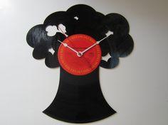 Tree with a Bird Recycled Record Clock by RecordTimeClocks on Etsy, $25.00