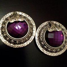 Beautiful Large Round Purple Crystal Silver Plugs Gauges Earrings #prom #gauges