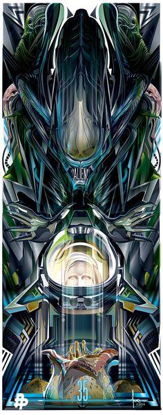"""Tributo al 35 aniversario de """"Alien"""" – poster vectorial de Orlando Arocena"""