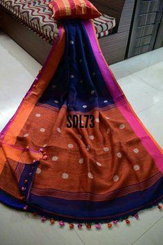 linen jamdani saree Price:2999 Free shipping Order what's app 7995736811