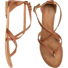MATISSE Ella sandal (€57) ❤ liked on Polyvore featuring shoes, sandals, flats, sapatos, zapatos, ankle strap shoes, flat pumps, ankle tie sandals, ankle wrap sandals and flat sandals