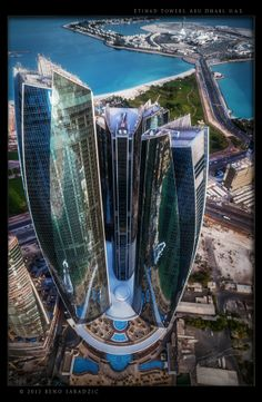 Etihad Towers in Abu Dhabi, capital of the United Arab Emirates.   Photographed from helicopter