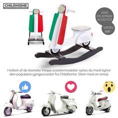 """SÅ blev det Konkurrencetid :) Vi synes at den lækre gyngescooter mindede os meget om de populære """"Vespa"""" modeller. Men hvilken synes DU den ligner mest.  Se på billedet, vælg et """"humørikon"""" og deltag i konkurrencen om en gyngescooter fra Childhome til en værdi af 598,- Del konkurrencen og giv dine venner mulighed for at vinde.  Vi finder en heldig vinder blandt dem der har valgt den scooter med flest """"stemmer"""" fredag d. 16/9-2016.  Du kan læse mere om scooteren fra Childhome her…"""