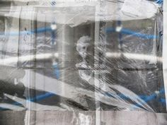 """Betty from Liberty Feist's """"Vulnerabilty & Fragility"""" project (2010)  translucent and fragile, Betty printed on clingfilm and hung in the playground.... a comment on Alzheimer's Disease and its affect on the memory and state of its patients."""