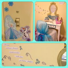 """Frozen vanity decor photos my daughter room. Only need stickers, tulle and paint. -""""Let it go, and move forward because we don't walk alone, our God is faithful"""""""
