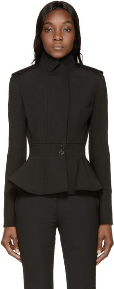 Long-sleeve compact wool-blend jacket black. Stand collar with inverted notch lapel. Epaulets at shoulders. Off-centered concealed snap closure down front. Two buttons visible at waist band. Peplum hemline. Vented sleeve cuffs. Fully lined with silk-blend in black. Tonal stitching.
