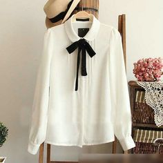 Casual Women Chiffon  Long Sleeve Peter Pan Collar Top Blouse White  T-Shirt #Unbranded #Blouse #Casual