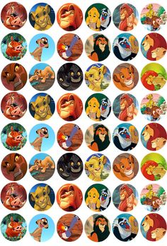 48 The Lion King Cupcake Toppers Edible Rice Wafer Paper Decorations Emoji Cupcake Toppers, Lion King Cupcakes, Lion Baby Shower, Lion King Party, Lion King Birthday, Disney Paintings, Lion King Simba, Le Roi Lion, Bottle Cap Images