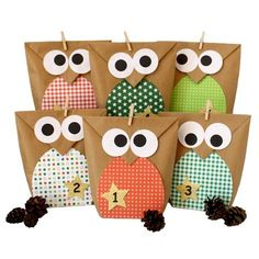 Papierdrachen DIY Advent Calendar - Christmas Owls red - Advent Calendar for Making and Filling Christmas Owls, Christmas Time, Christmas Crafts, Christmas Ornaments, Xmas, Owl Crafts, Diy And Crafts, Paper Crafts, Advent Calenders