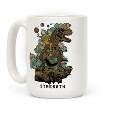 This design is a reimagining of the Strength tarot card. The Strength is numbered either XI or VIII, depending on the deck. It is a Major Arcana and represents self-control, compassion, and comprehension. In this illustrated coffee mug we find a woman far out on a distant planet wearing a space suit while ridding a giant T-rex and scattering roses.