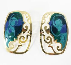 See new listings daily - follow us for updates.  Blue #Green Enamel Swirl Earrings, Rectangle Shaped Openwork Earrings, Modern #Vintage, Gold Tone Earrings, Flat Open Work, #Painted, Cut Out, Artisan, Stud Earrings, Posts, E... #vintage #jewelry #teamlove #etsyretwt #bestofetsy #mimisjewelryboutique #artisan #turquoise #blue #green #painted ➡️ http://jto.li/vcdJb
