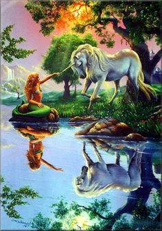Mermaid and unicorn! Now look at this... Only a mermaid would be friends with a unicorn!! Lol luv *** # kid in me