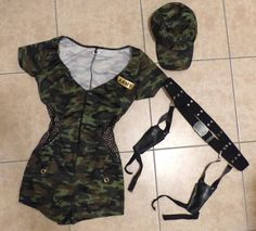 Sexy Army Military Boot Camp Babe Camo Jumpsuit Halloween Costume Leg Avenue S/M…