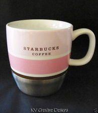 STARBUCKS Coffee Urban Stainless Steel Pink White Stripe 10 oz Mug Tea Cup 2007  $30
