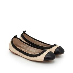 Freya Cap Toe Ballet Flat by Sam Edelman - Nude/Black Leather - View 1