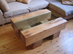 Green oak and toughened glass coffee table £750
